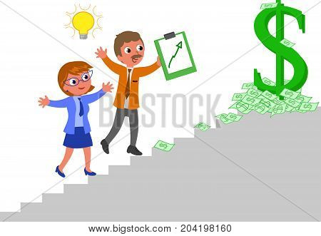 two success managers climbing a staircase, vector illustration