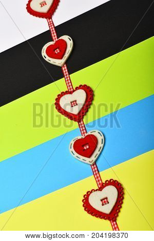 Checked Ribbon With Red And White Hearts Beaded On It