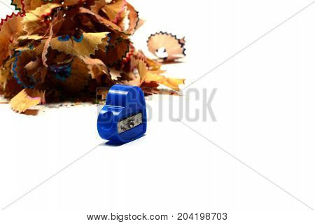 Stack Of Pencils Fraction  And Pencil Sharpener On White Background Isolated