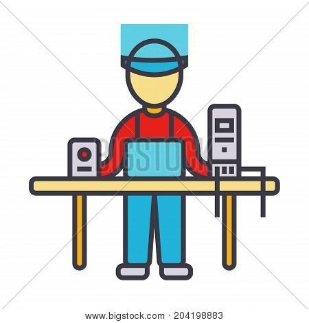 Computer service, geek, specialist, pc enigneer flat line illustration, concept vector icon isolated on white background