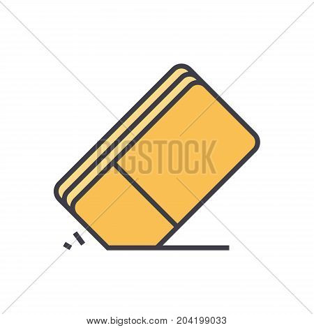 Eraser flat line illustration, concept vector icon isolated on white background