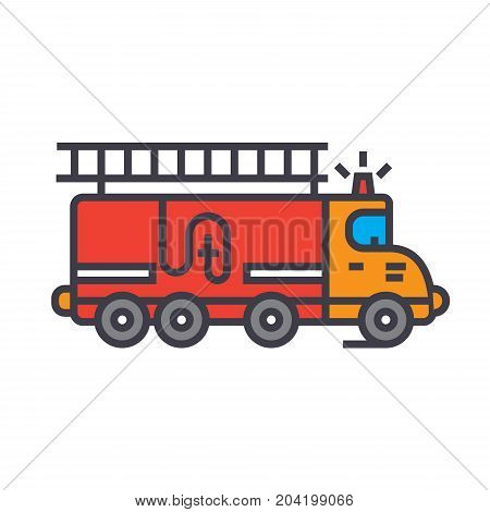 Fire engine, car flat line illustration, concept vector icon isolated on white background