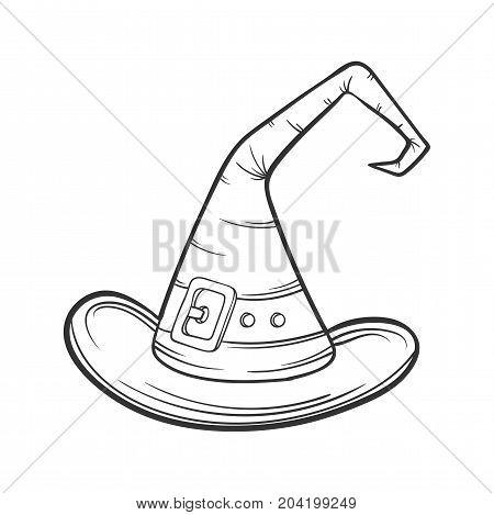 cartoon Wizard hat, halloween concept, vector illustration