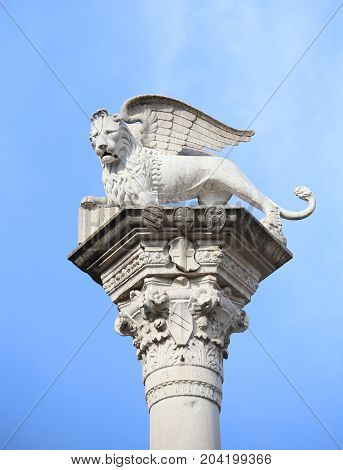 Column With The Lion Winged Symbol Of The  Of Venice In Italy