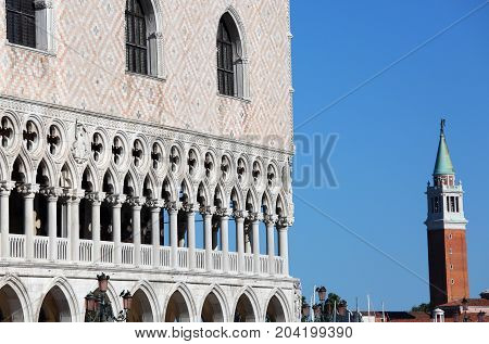 Ducal Palace And The Bell Tower Of Saint George Church In Venice