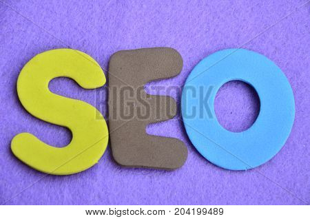 WORD SEO ON A  ABSTRACT BLUE BACKGROUND
