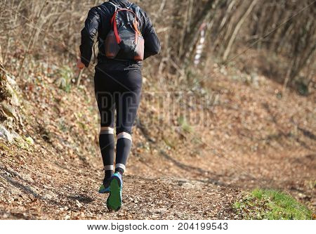 Legs Of A Runner During The Country Race In The Middle Of The Fo