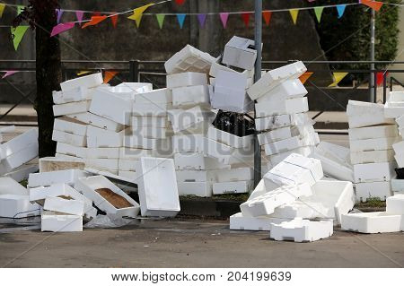 Polystyrene Boxes Thrown T In A Square