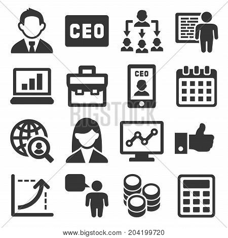 CEO and Business Management Icons Set. Vector illustration