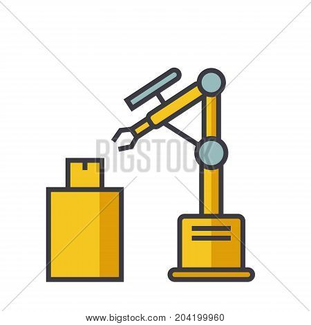 Industrial robot laser flat line illustration, concept vector icon isolated on white background