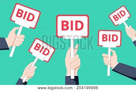 Hands holding auction paddle. Flat vector illustration. Auction and bidding concept. Sale process with man holding raised special plate in hands. Take round and rectangular plates with BID inscriptions.