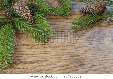 horizontal christmas decoration frame spruce tree fir branch with cone on old hardwood wooden desk background