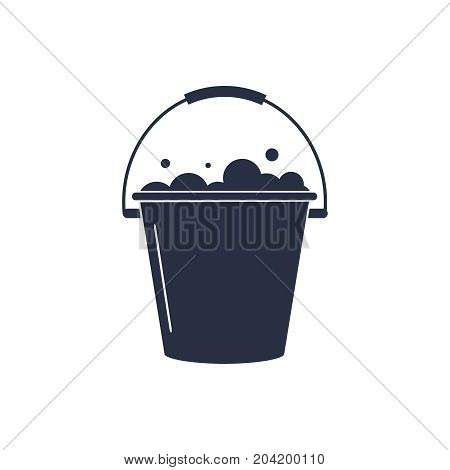 Bucket of water icon vector isolated, pail or bucketful with foam and bubbles. Gardening equipment tool isolated on white.