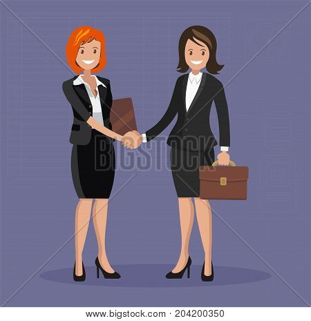 Business handshake. Two women in formal attire successfully conclude agreements on the transaction. Flat style.