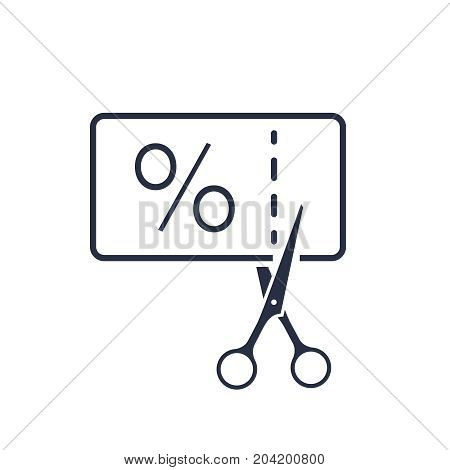 thin line black scissors cuts discounts coupon. concept of sell off in online supermarket at low prices or half value. stroke flat style trend logotype graphic art design isolated on white background