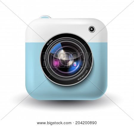 Vector illustration of trendy photocamera, instant camera icon, hipster photo device in blue and white