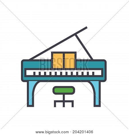 Piano concert flat line illustration, concept vector icon isolated on white background