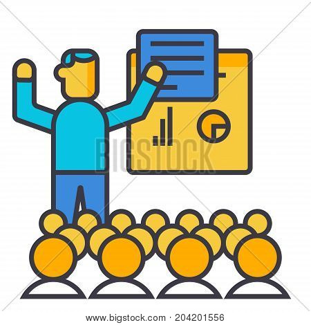 Presentation, meeting, lecture flat line illustration, concept vector icon isolated on white background