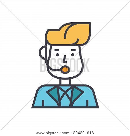 Reporter man, news broadcasting flat line illustration, concept vector icon isolated on white background