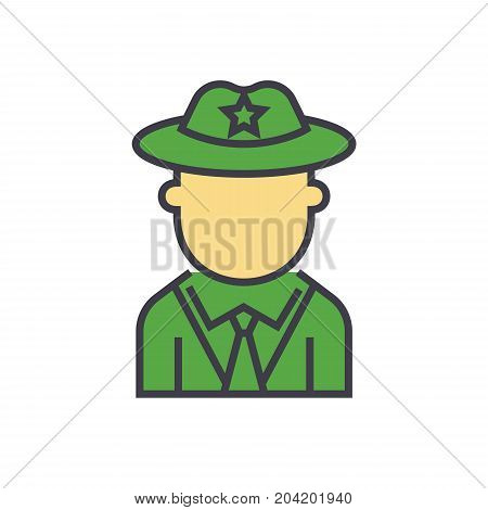 Sheriff, policeman flat line illustration, concept vector icon isolated on white background