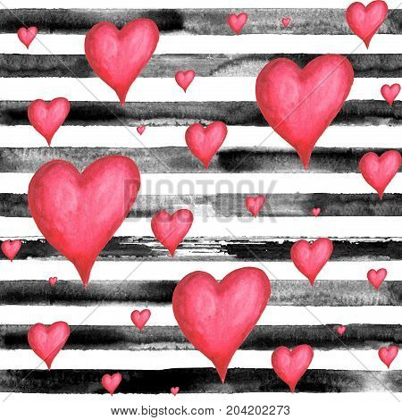 Watercolor hand drawn seamless pattern with black stripes and red volume hearts. Watercolor white and black background.