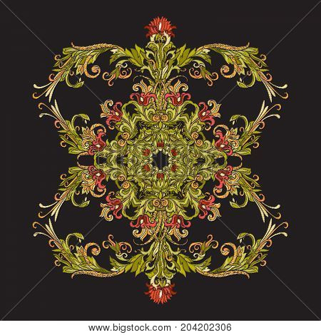 Floral decorative pattern for embroidery. Royal ornament in vintage style on a black background. Stock vector illustration.