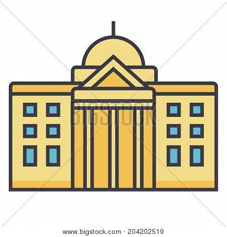 Town hall flat line illustration, concept vector icon isolated on white background