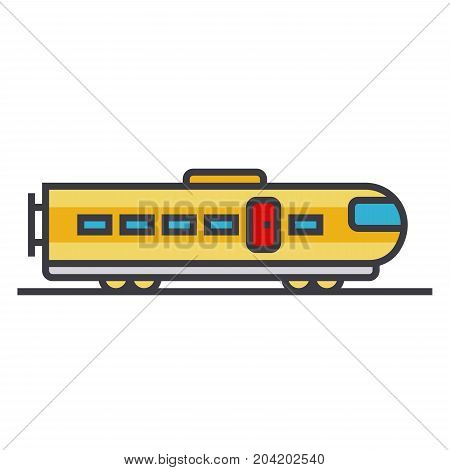 Train modern flat line illustration, concept vector icon isolated on white background