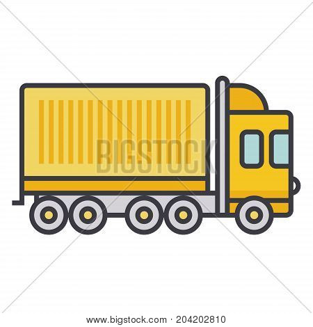 Truck cargo container flat line illustration, concept vector icon isolated on white background
