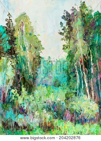 Summer day, Glade in the birch wood