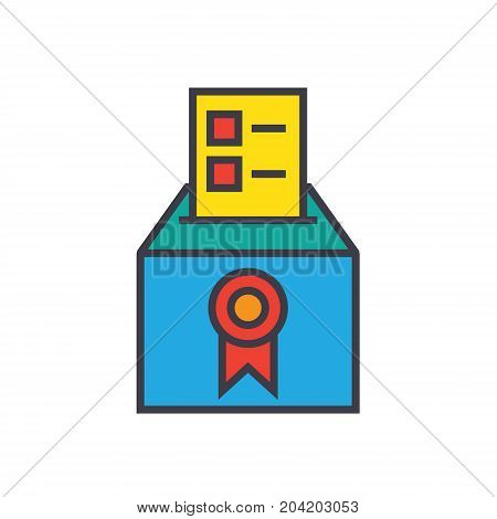 Vote, voting, elections, poll flat line illustration, concept vector icon isolated on white background
