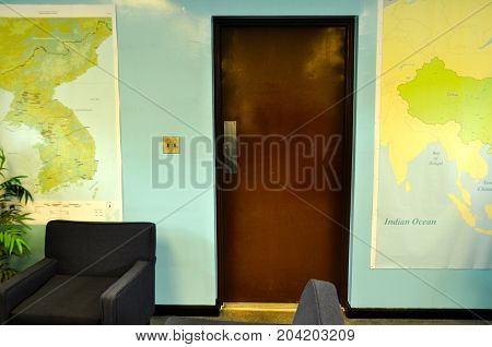 PANMUNJOM - September 26, 2014: The door to North Korea inside the Conference room at Demiliterized Zone, on borders between South and North Korea.