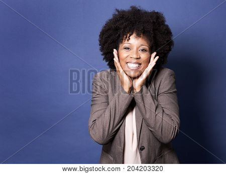 Black Casual Woman On Blue Background