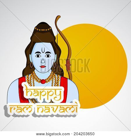 illustration of hindu god Ram with Happy ram navami text on the occasion of hindu festival Dussehra
