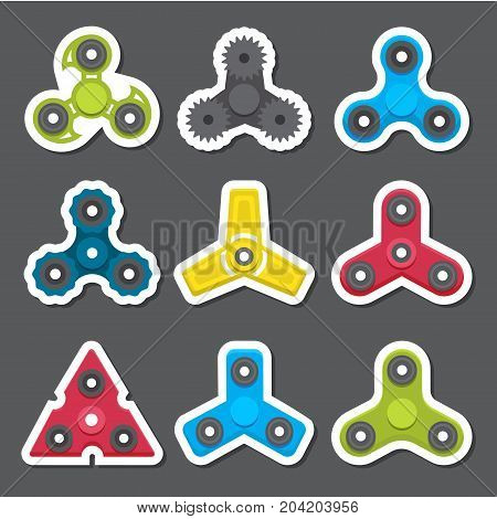 Hand spinners. Toy for increased focus, stress relief. Fidget relax and meditation. Flat icons. Collection of different colored spinners. Gadget plaything. Vector illustration art.
