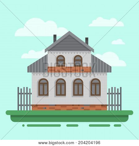Country old gray house with fence. Colorful village russian old house. Countryside colored wood house. Cute outback hut with decoration, grass. Vector illustration art with blockhouse.