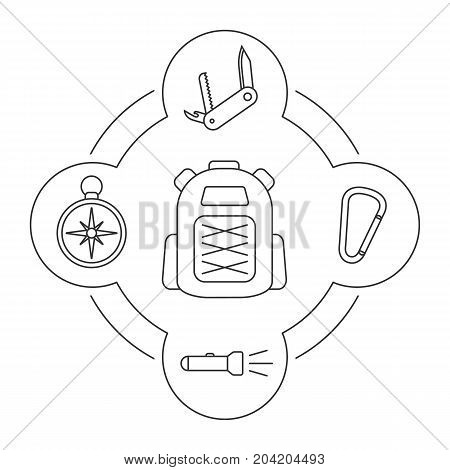 Tourist's backpack contents linear icons set. Penknife, carabiner, flashlight, compass. Isolated vector illustrations