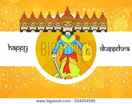 illustration of evil ravan with Happy Dussehra text on the occasion of hindu festival Dussehra