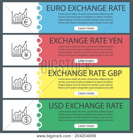 Currencies exchange rates web banner templates set. Market growth charts with US dollar, pound, yen, euro signs. Website color menu items with linear icons. Vector headers design concepts