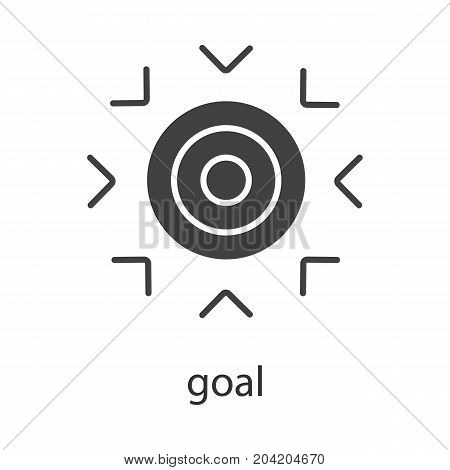 Goal glyph icon. Silhouette symbol. Purpose abstract metaphor. Negative space. Vector isolated illustration