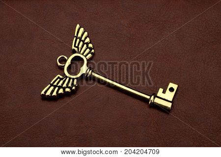 Golden Key with wings on Brown Leather Background