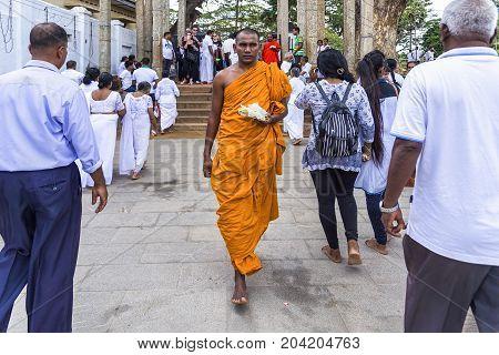 Anuradhapura, Sri Lanka - August 16, 2017: Buddhist monk brings a flower gift for Buddha at Ruwanwelisaya stupa in the ancient city of Anuradhapura