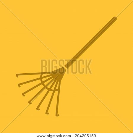 Rake glyph color icon. Silhouette symbol. Negative space. Vector isolated illustration