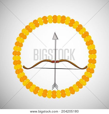 illustration of bow and arrow on the occasion of hindu festival Dussehra