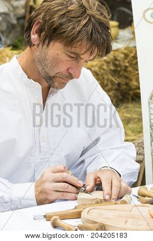 BUDAPEST, HUNGARY - AUGUST 20, 2017: Traditional folk fair in honor of Saint Istvn and the first bread in Hungary with folk masters. Budapest. Hungary
