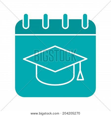 Graduation date glyph color icon. Calendar page with square academic hat. Silhouette symbol on white background. Negative space. Vector illustration