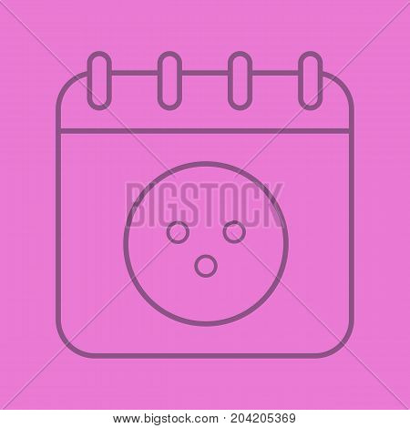 Bowling tournament date linear icon. Calendar page with bowling ball. Thin line outline symbols on color background. Vector illustration
