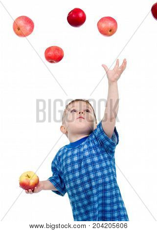 Little Boy  Caughts Flying Apple