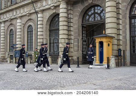 Stockholm, Sweden - February 23, 2015. Change Of Guard Near The Royal Palace. Everyday There Is A So
