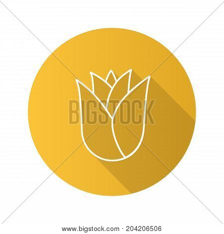 Rosebud flat linear long shadow icon. Rose flower head. Vector outline symbol